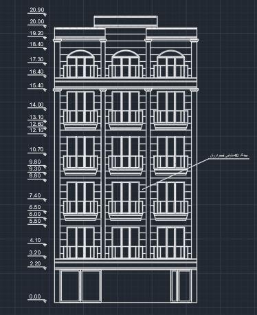 دتایل نما ساختمان مسکونی 5 طبقه